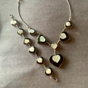 Mother of pearl inlay 925 necklace & bracelet set